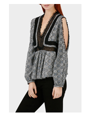 Piper - Printed Cold Shoulder Top