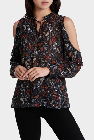 Piper Petites - Top Cold Shoulder Ruffle Sleeve print