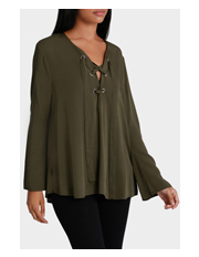 Piper - Lace Up Detail Long Sleeve Top