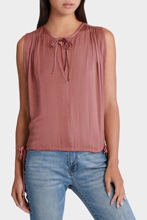 Piper - Vee Neck Top with Tie Waist Detail