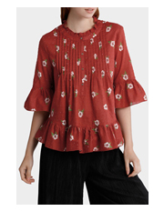 Piper - Pintucked Print Top