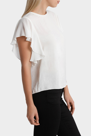 Piper - Crew Neck Knit Woven Ruffle Sleeve Top