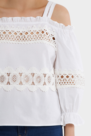 Piper - Top White Lace Panels with Straps