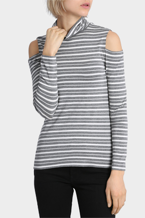 Piper Essentials - Cold Shoulder Roll Neck Tee
