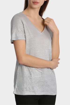 Piper - Metallic V-Neck Tee