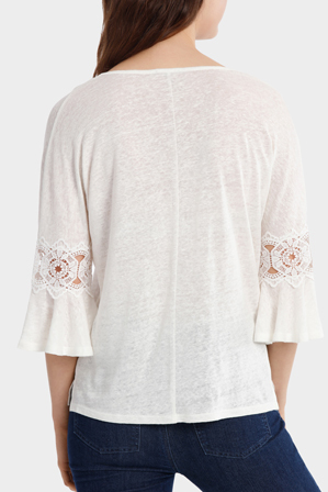 Piper - Linen V-Neck Tee with Lace