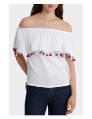 Piper - Tee off shoulder with Tassles