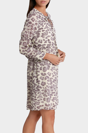 Piper Petites - Dress Long sleeve Animal Print Tie Neck