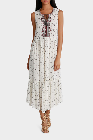 Piper - Dress Sleeveless Embroidery and Print