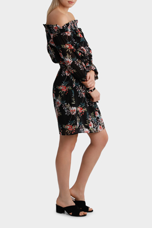 Piper - Dress off Shoulder multi layers print
