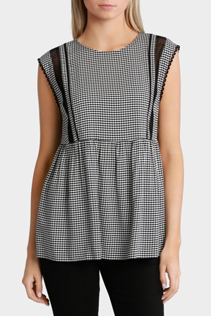 Grab - Lace & Gingham Top