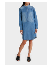 Grab - Dress Denim with Tie Detail Fringe Hem