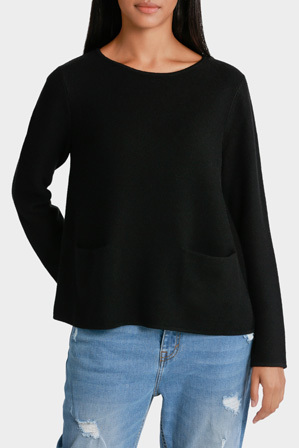 Piper Petites - Crew Neck Rib Sweater with Pocket Detail