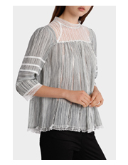 Piper Petites - Top Textured Stripe with Lace Trim
