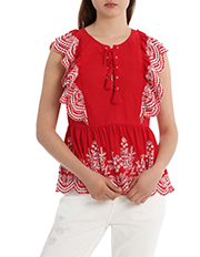 Piper Petites - Embroidered Ruffle Top