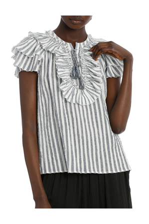 Piper Petites - Top with stripe tie neck