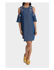 Piper Petites - Dress Emb Chambray
