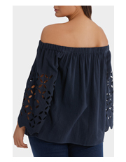 Mink Denim - Off shoulder Top with cut out sleeves