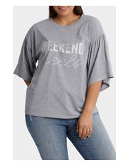 Mink Denim - Tee with Fluted Sleeve