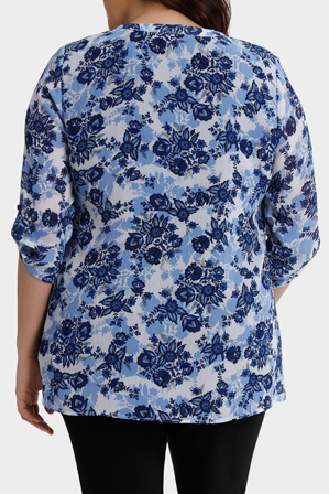 Regatta Woman - Chinoiserie Floral Layered 3/4 Sleeve Top