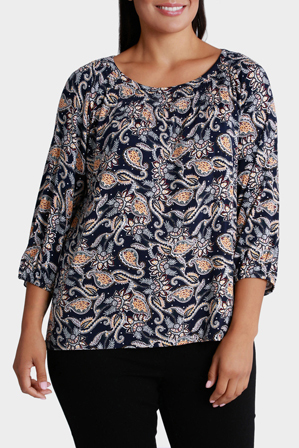Regatta Woman - Paisley Splice 3/4 Sleeve Tee