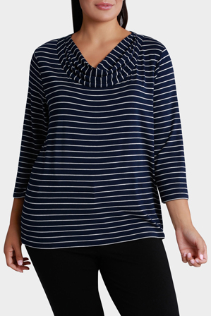 Regatta Woman - Essential Stripe Cowl Neck 3/4 Sleeve Tee