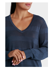 Basque Woman - Vee Neck Self Stripe Pointelle Jumper