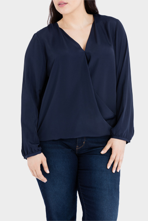 Basque Woman - Wrap Front Long Sleeve Blouse
