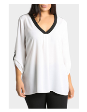 Basque Woman - Tab Sleeve V Neck Blouse