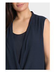 Basque Woman - Wrap Front Sleeveless Blouse