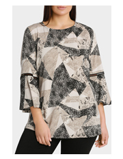 Basque Woman - Animal Print Jersey Bell Sleeve Top