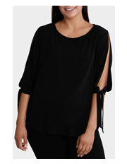 Basque Woman - Cold Shoulder Tie Sleeve Jersey Top