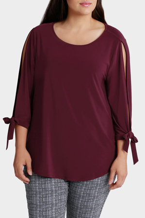 Basque Woman - Cold Shoulder Tie Slv Jersey Top