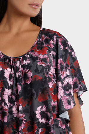 Basque Woman - Winter Floral Drape Sleeve Gather Neck Soft Top