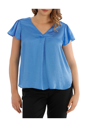 Basque Woman - Bruised Polyester V Neck Blouse