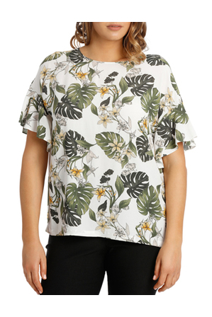Basque Woman - Flutter Sleeve Monsteria Print Boxy Top