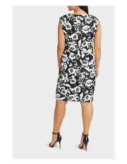 Basque Woman - Monotone Floral Tuck Detail Fitted Dress