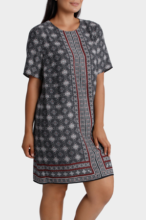 Basque Woman - Scarf Print Shift Dress