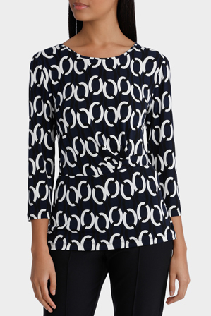 Jane Lamerton - Bold Chain Print Side Tie 3/4 Sleeve Jersey Top