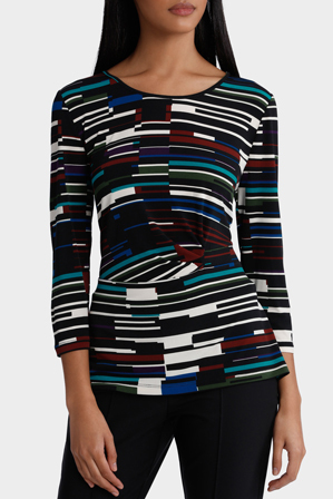 Jane Lamerton - Broken Stripe Print Side Tie 3/4 Sleeve Jersey Top