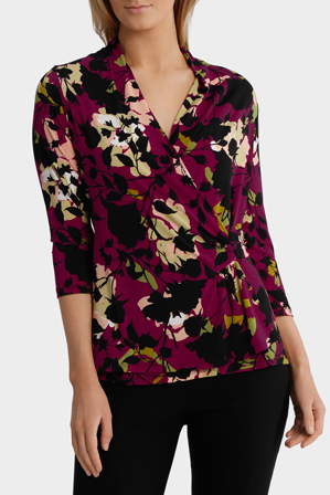 Jane Lamerton - Night Forest Print Wrap Jersey Top