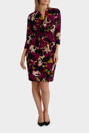 Jane Lamerton - Night Forest Print Rouched Jersey Dress