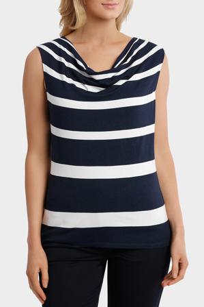 Trent Nathan - Stripe Cowl Neck Short Sleeve Tee