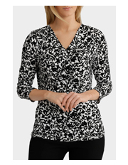 Trent Nathan - Mono Floral Gathered Side Jersey Top