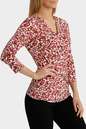 Trent Nathan - Floral Gathered Side Jersey Top