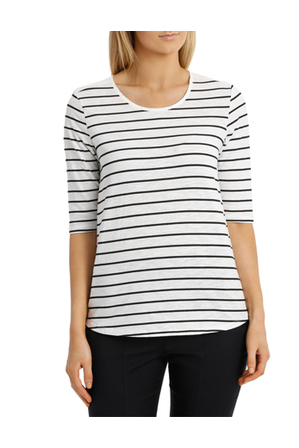 Trent Nathan - Stripe Knit Woven Short Sleeve Top
