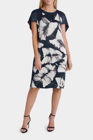 Trent Nathan - Painted Palm Print Cape Dress