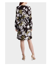 Trent Nathan - Large Floral Long Sleeve Cinch Waist Dress