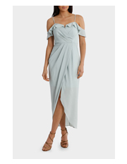 Wayne Cooper Events - Mint Flutter Off The Shoulder Dress