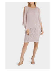 Laura K - Sequin Stretch Lace Shift Dress W Fixed Asymmetric Chiffon Overlay